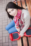 Young white girl with electric mini segway hover board scooter Royalty Free Stock Photos