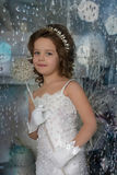 Young girl child at a wedding. Young white girl in a smart dress royalty free stock photo
