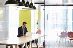 Young white man working alone in an office meeting area stock photography