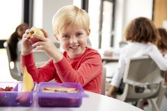 Young white schoolboy sitting at a table smiling and holding an apple in a kindergarten classroom during his lunch break, close up stock images