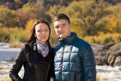 Young White Sweethearts in Autumn Fashion Outfit Royalty Free Stock Images