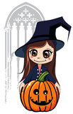 Young wich with her pumkin. Girl in masquerade costume with pumkin on halloween Stock Images
