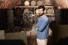 Young winemaker. Portrait of young winemaker standing in his wine cellar in front of barrel and looking at camera. Small business Stock Images