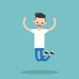 Young winking jumping bearded guy. / flat   illustration Royalty Free Stock Photo