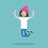 Young winking jumping girl / flat editable vector illustration Stock Photo