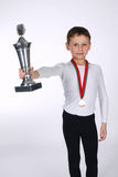 Young winner on white background Royalty Free Stock Photography