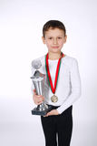 Young winner on white background Royalty Free Stock Image