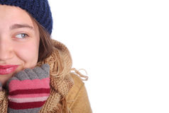 Young winter girl looking at  copy space Royalty Free Stock Photos
