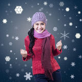 Young Winter Girl Winning Royalty Free Stock Images