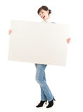 Young winter woman with blank placard Stock Photography