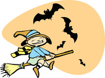 Young Witch with Bats Stock Image