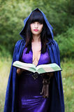 Young witch with a book. Beautiful young witch with with a book of spells Stock Photo