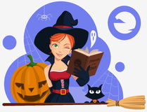 Young witch with cat broom and pumpkin. Vector illustration. Young smiling ginger witch with black cat, broom and pumpkin Stock Photo