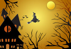 Young witch flying on broom with spooky silhouette Halloween Royalty Free Stock Photo