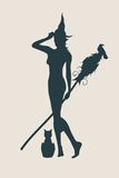 Young witch icon. Witch silhouette with a broomstick Stock Photos