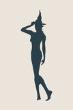Young witch icon. Witch silhouette Stock Photo