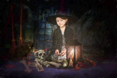 Young witch illustration Stock Photos