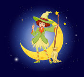 A young witch near the moon Royalty Free Stock Photo
