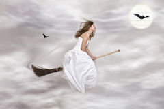 Young Witch On The Broom Royalty Free Stock Photography