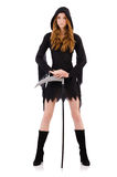 Young witch with scythe isolated Royalty Free Stock Image