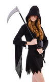 Young witch with scythe Stock Image