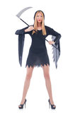 Young witch with scythe Royalty Free Stock Images