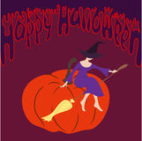 Young witch sitting on the pumpkin, vector. Young witch sitting on the pumpkin. Art vector illustration for you Halloween design Stock Images