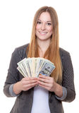 Young woan holding US dollar notes Royalty Free Stock Photos