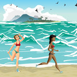 Young womеn is engaged in the beach sports Stock Images