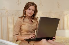 Young woman. With notebook computer Stock Photos