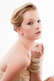 Young Woman. Poses elegantly facing camera from the side royalty free stock image
