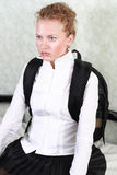 Young woman. With a backpack stock images