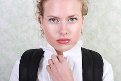 Young woman. With a backpack stock image
