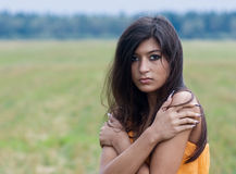 Young woman. Young scared and frozen woman Royalty Free Stock Image