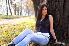 Young woman. Young, beautiful woman in autumn park near a tree Royalty Free Stock Images