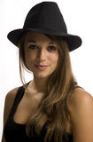 Young woman. Wearing a hat Stock Photos