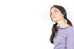 Young woman. Thinking young woman on white background Stock Images