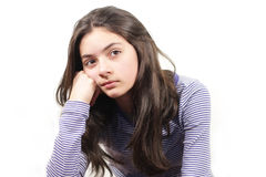 Young woman. Thinking young woman on white  background Royalty Free Stock Images