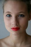 Young woman. Young beautiful lovely woman with red lips Stock Photos