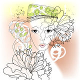 Young woman. With decorative floral element Royalty Free Stock Images