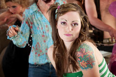 Young woman at 1970s Disco Music Party Royalty Free Stock Image