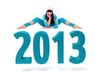 Young woman and 2013 New Year sign. Against isolated white background Stock Illustration
