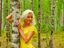 Young woman. Happy young woman standing among birch trees Stock Photos