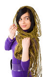 Young woman. Brunet Woman wearing scarf isolated Royalty Free Stock Image