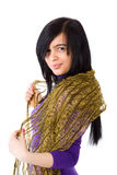 Young woman. Brunet Woman wearing scarf isolated Royalty Free Stock Photography