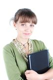 Young woman. Isolated full length of a happy college girl carrying a laptop on white background stock photos