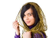 Young woman. Brunet Woman wearing scarf isolated Stock Photography