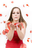 Young woman. Woman blowing rose petals on white background royalty free stock photo
