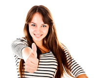 Young woman. Showing thumb up isolated on a white background Stock Image