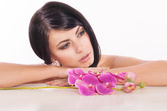 Young woman. With a flower Stock Photo